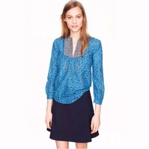 J.CREW Peasant Blouse FlowerPatch Top Blue Silk